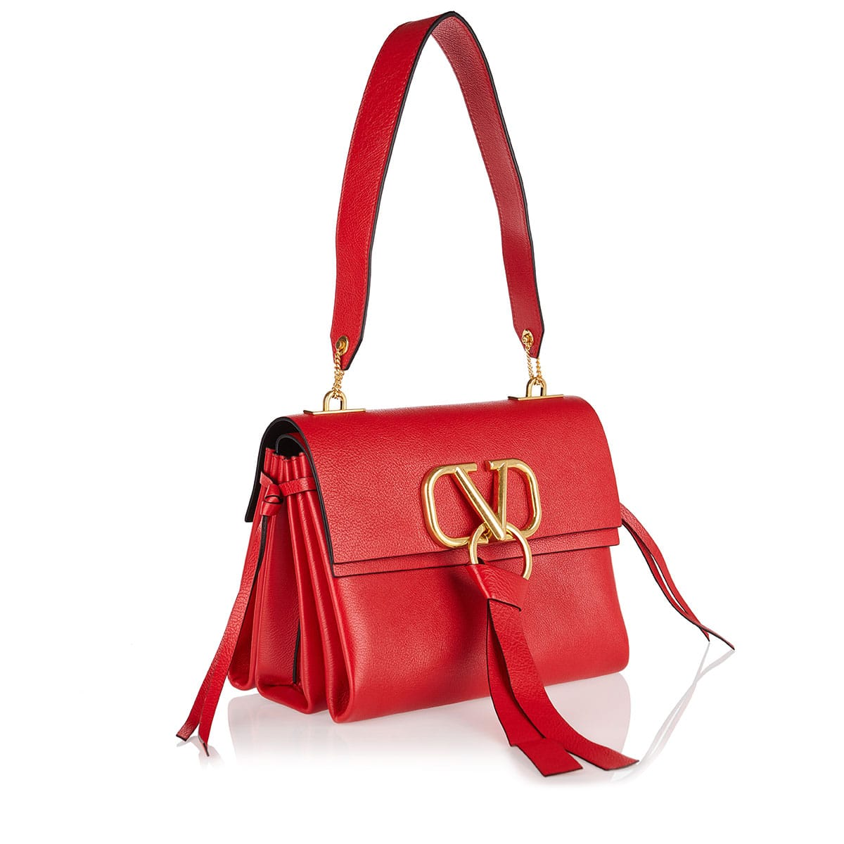 V-ring small leather shoulder bag