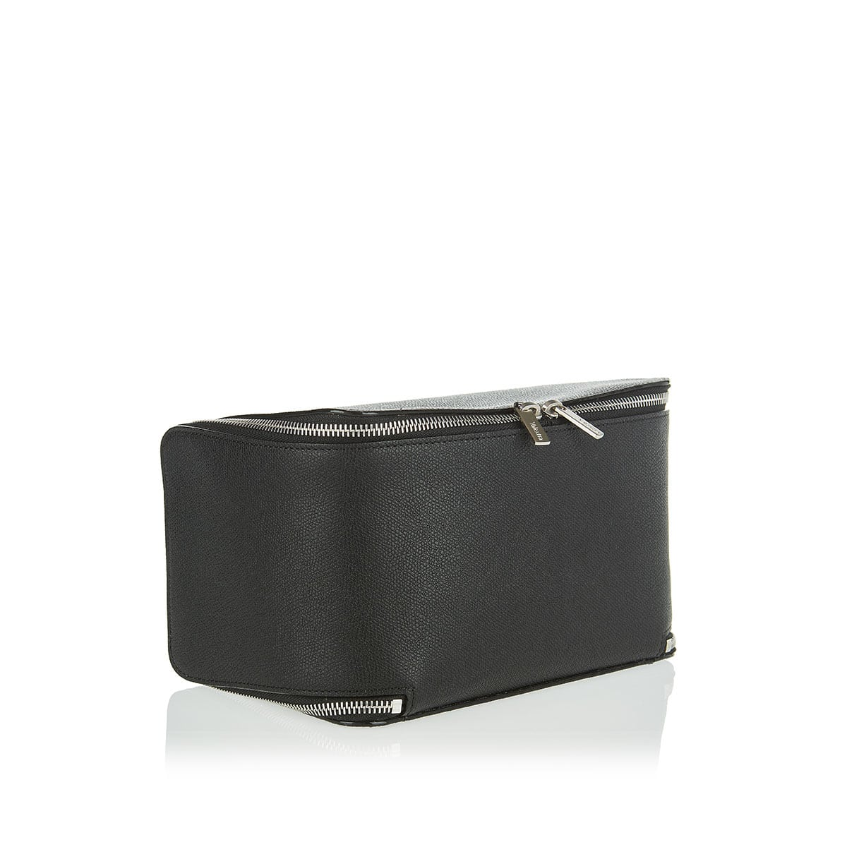Collapsible leather cosmetic case