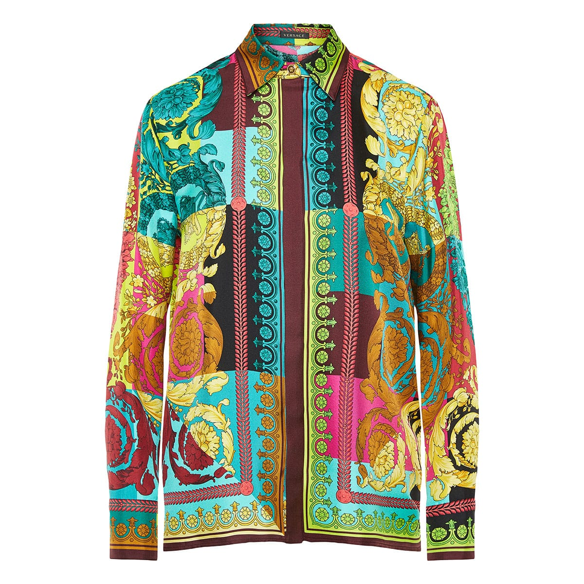 Baroque-print silk shirt