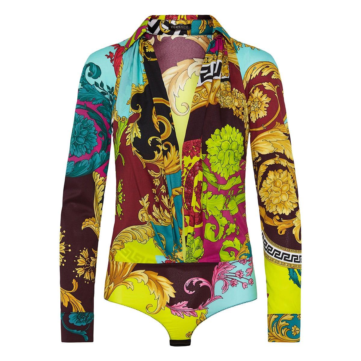 Montage-print bodysuit