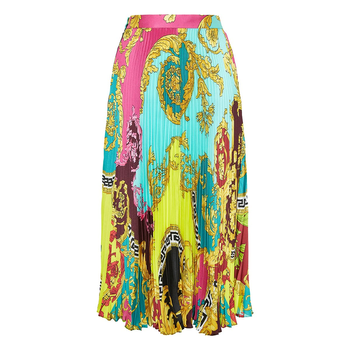 Montage-print pleated midi skirt