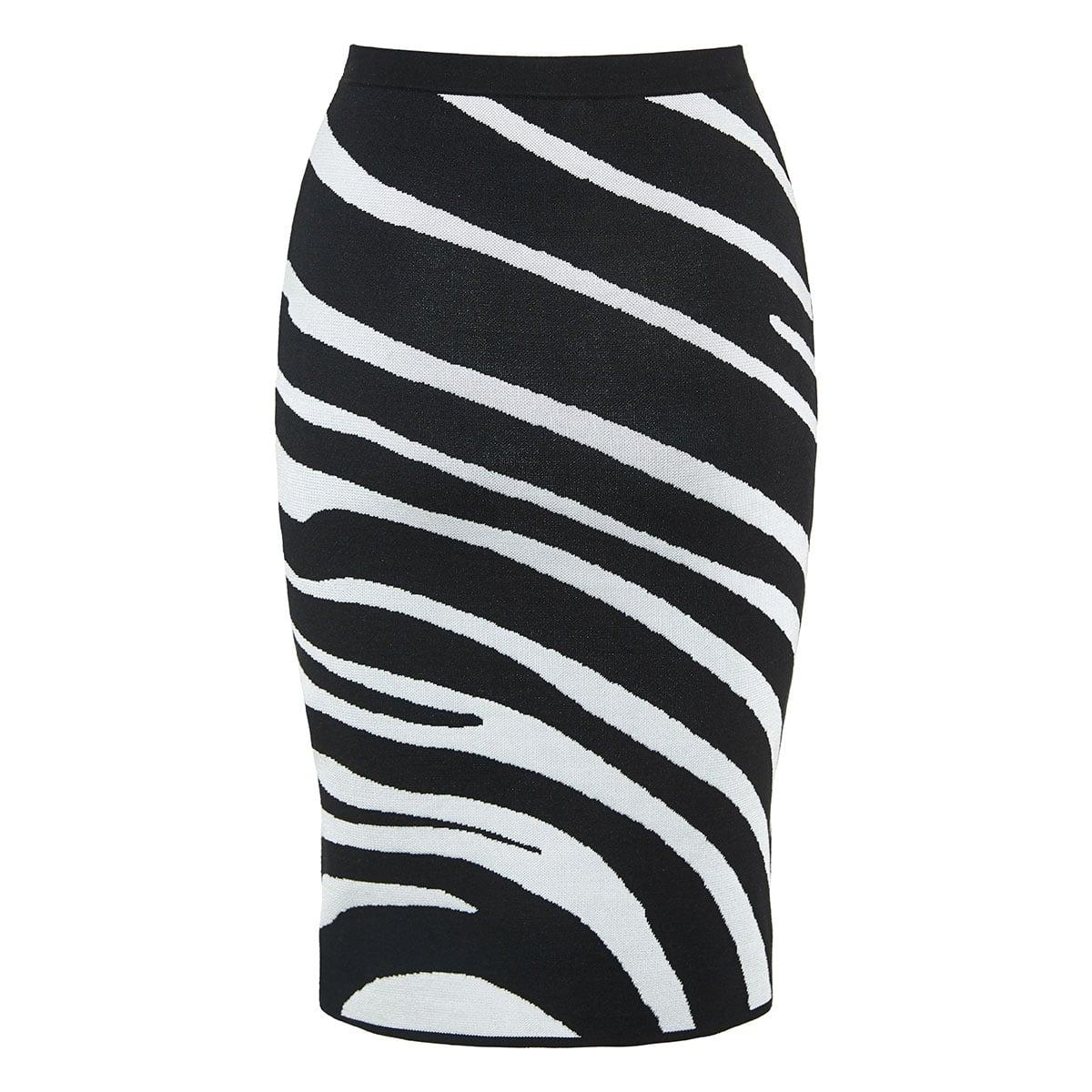 Zebra intarsia knitted pencil skirt