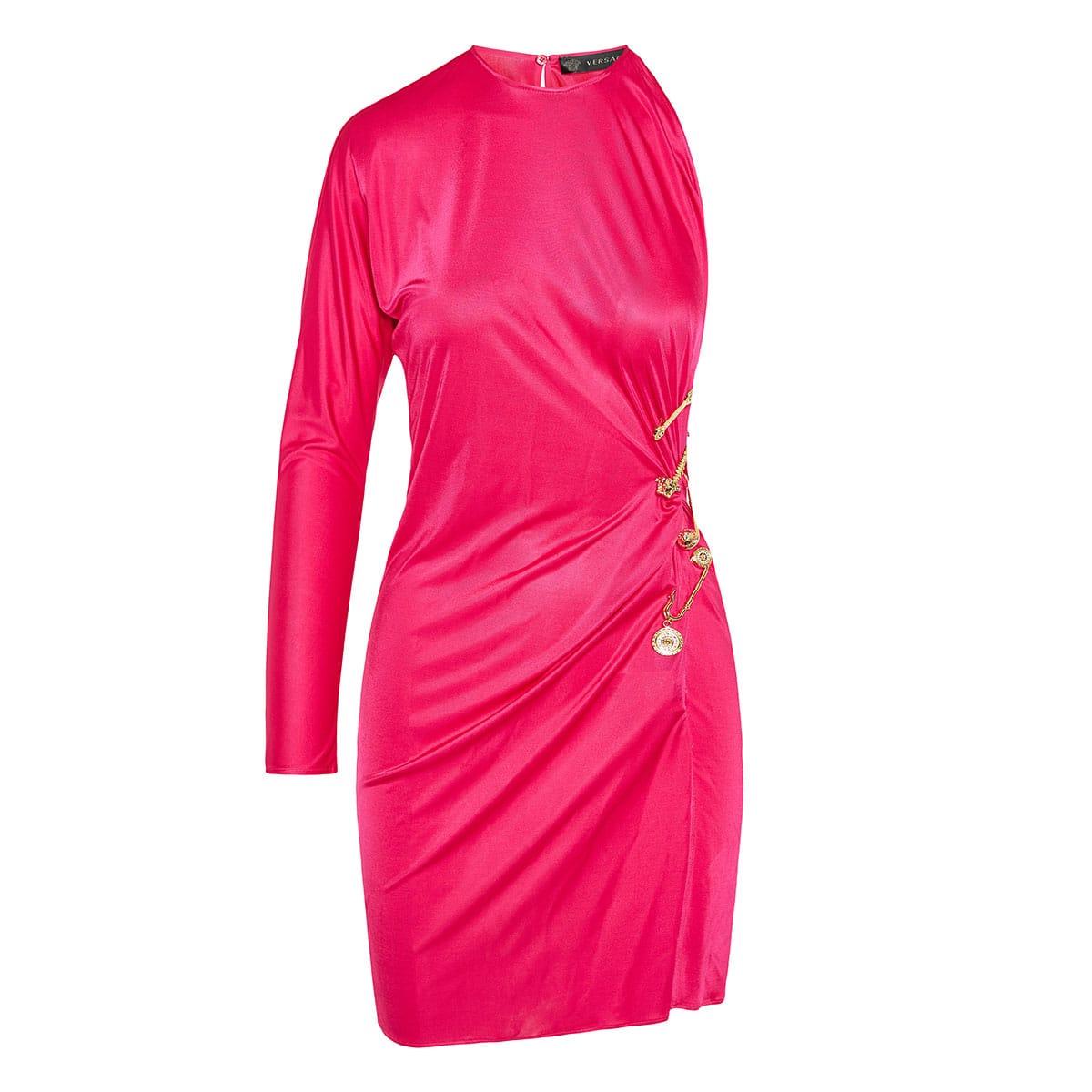Pin-embellished one-sleeve draped mini dress