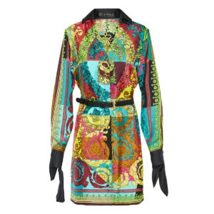 Baroque-print belted mini shirt dress
