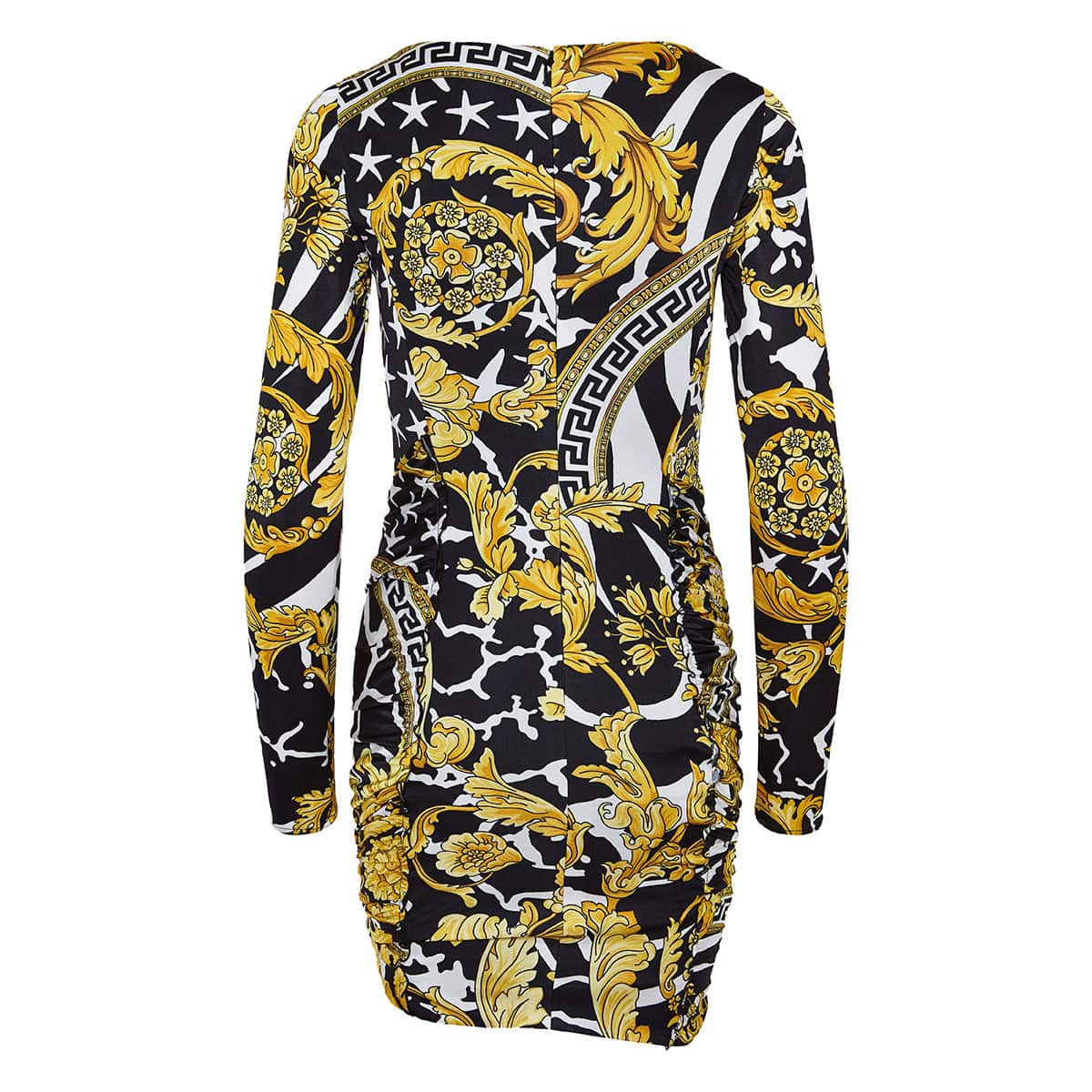 Baroque print ruched mini dress