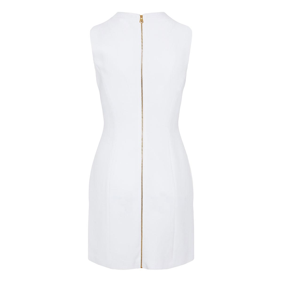 Pin-embellished crepe mini dress