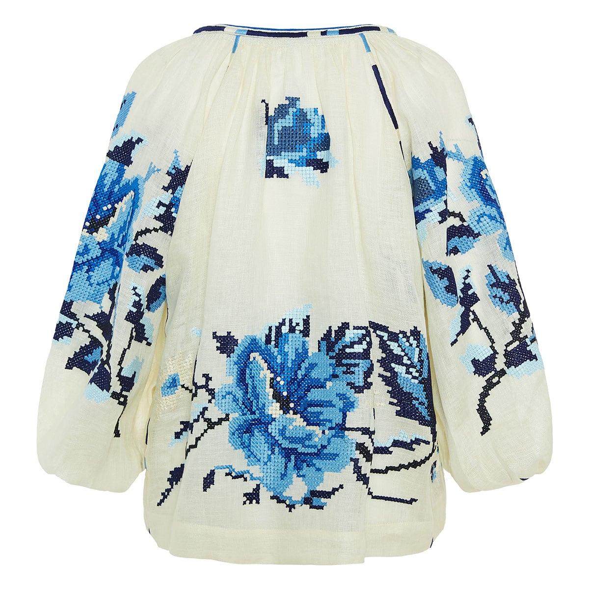Velvet Rose embroidered linen blouse