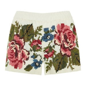 Velvet Rose embroidered linen shorts