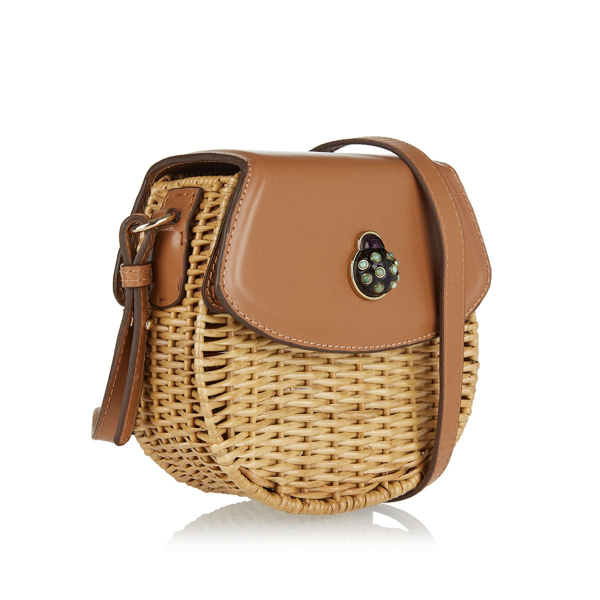 Garden rattan and leather bag