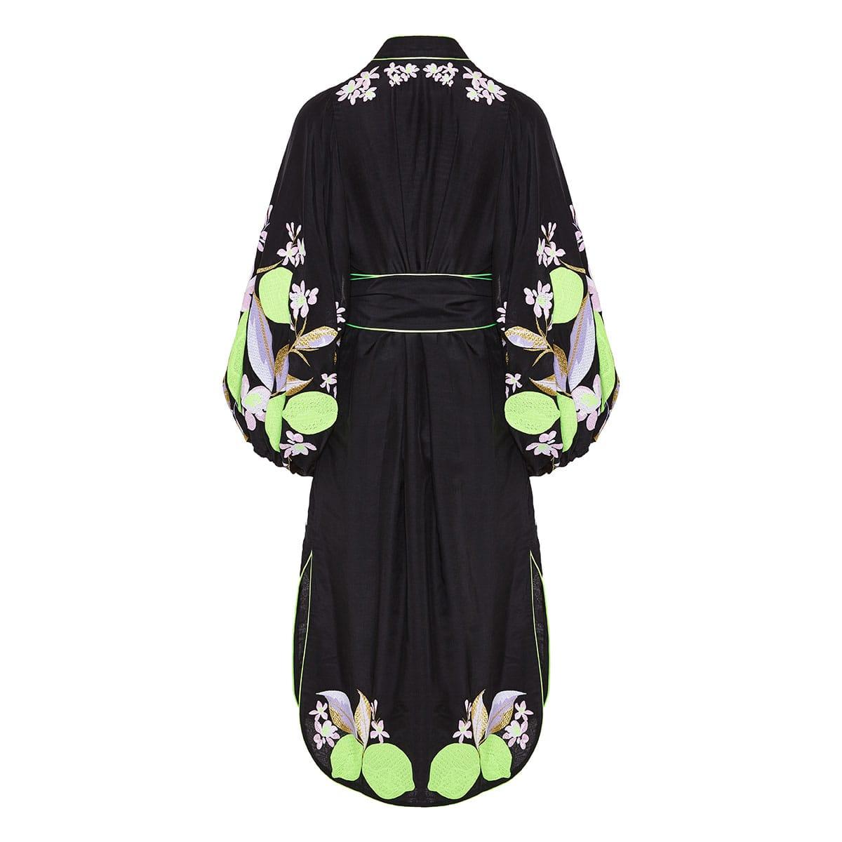 Lemons embroidered robe dress