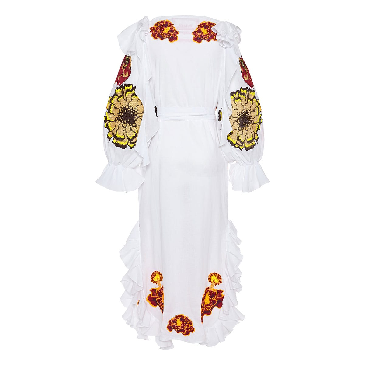 Marigold embroidered long ruffled dress