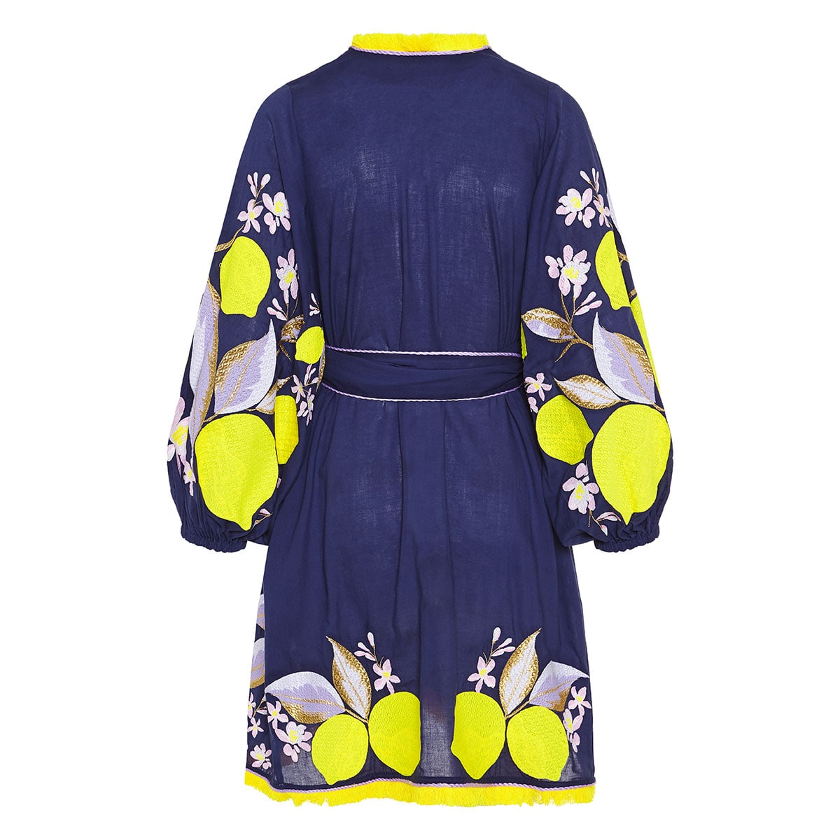 Lemons embroidered cotton mini dress