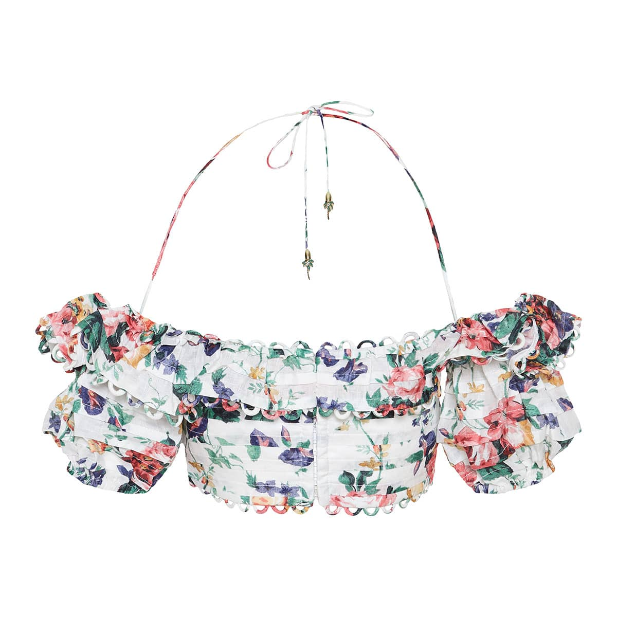 Allia floral linen cropped top