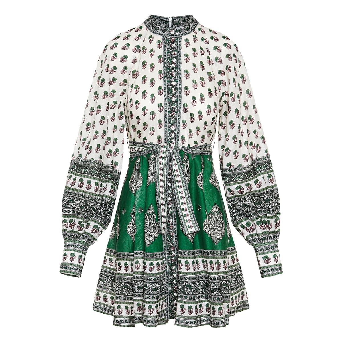 Amari printed linen mini dress