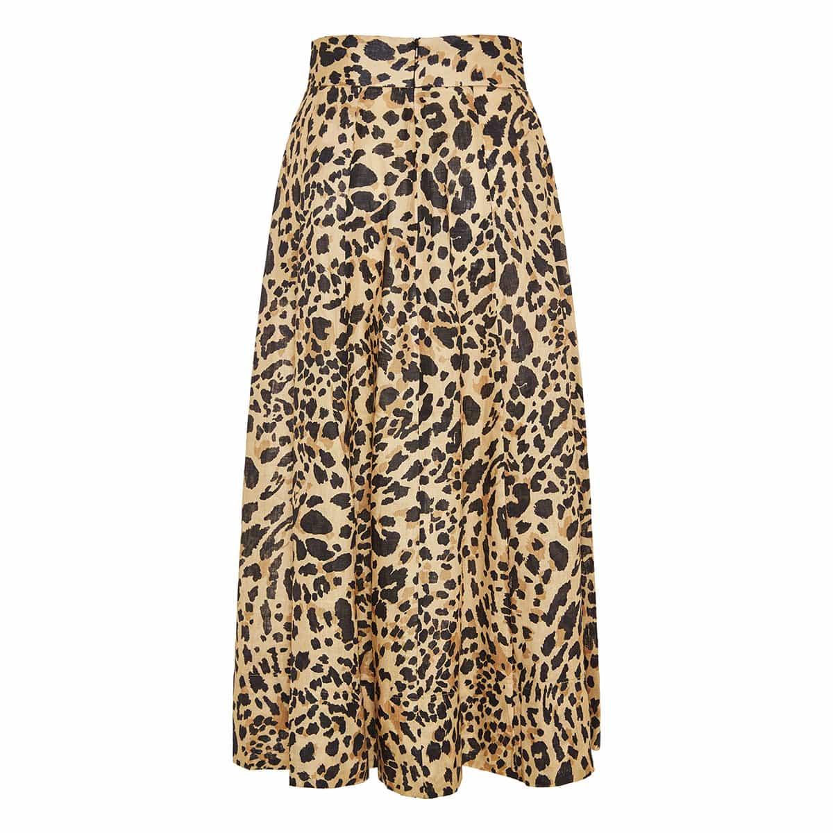 Leopard linen midi skirt