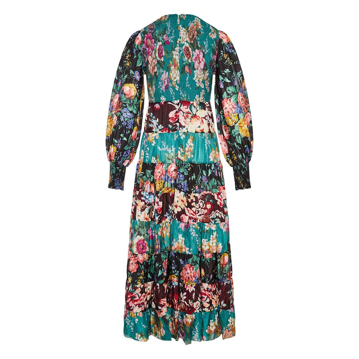 Allia floral tiered midi dress