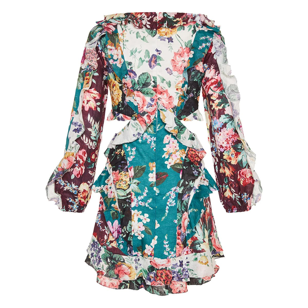 Allia cutout floral ruffled mini dress
