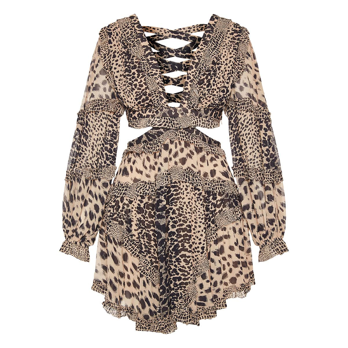 Allia leopard cutout chiffon mini dress