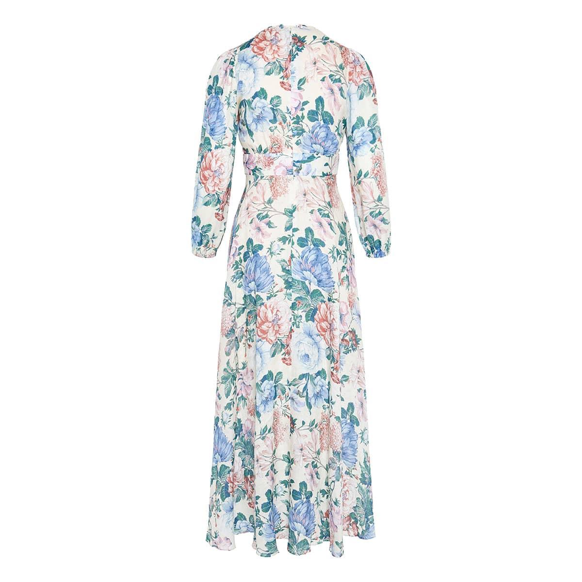 Verity floral long linen dress