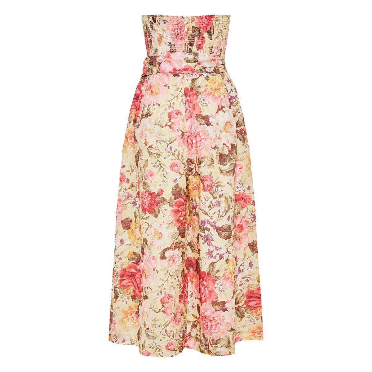 Honour strapless floral linen jumpsuit