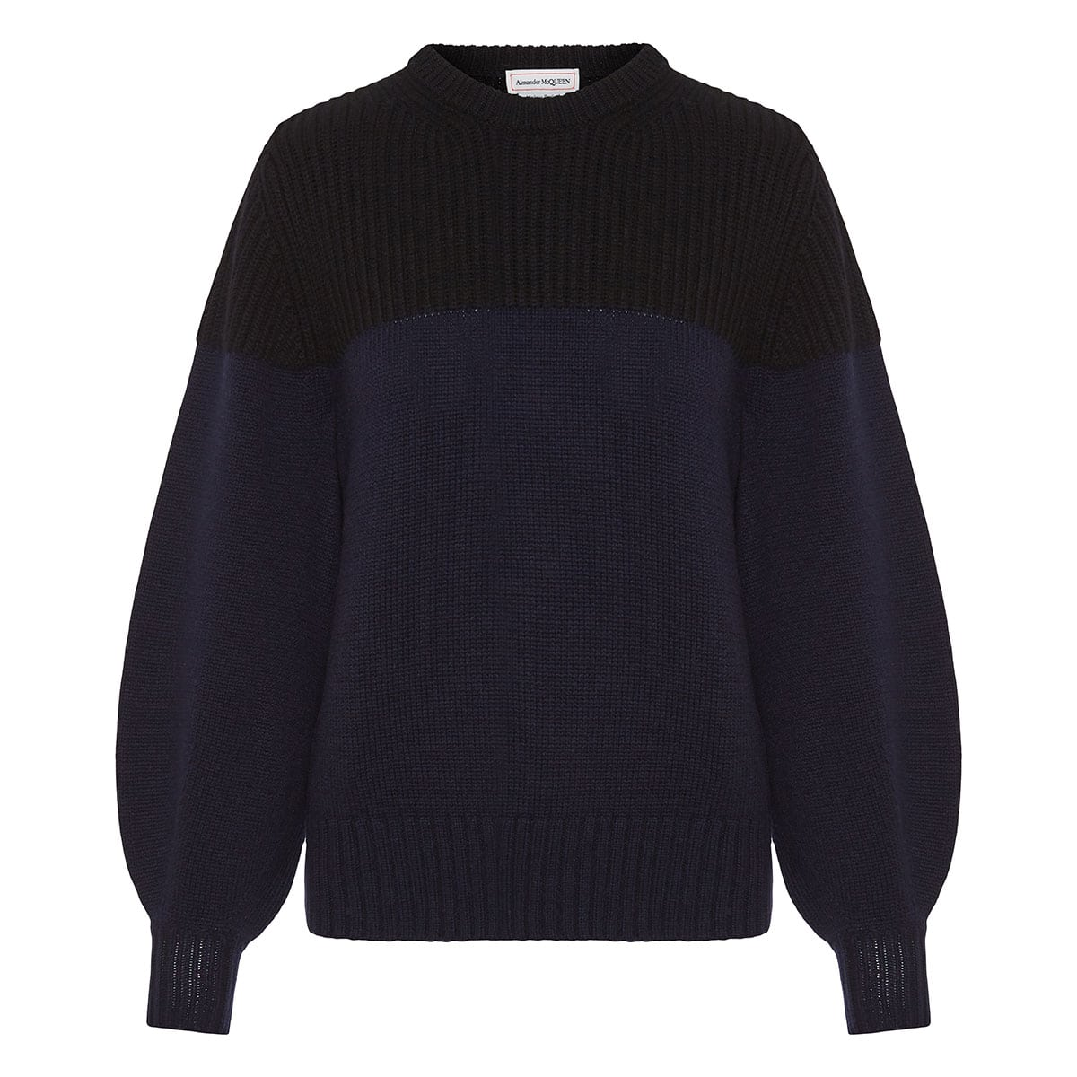Two-tone oversized cashmere sweater