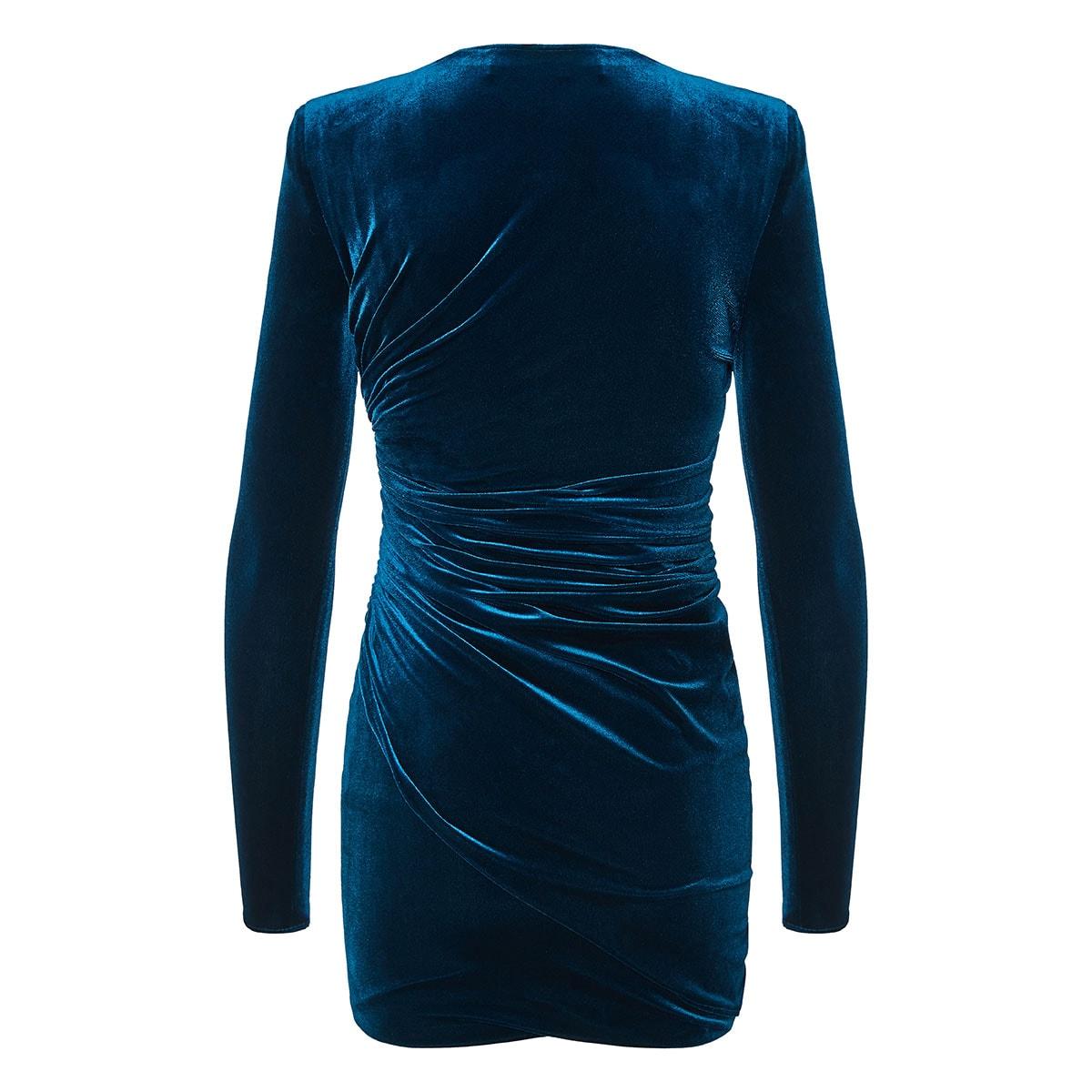 Ruched velvet mini dress