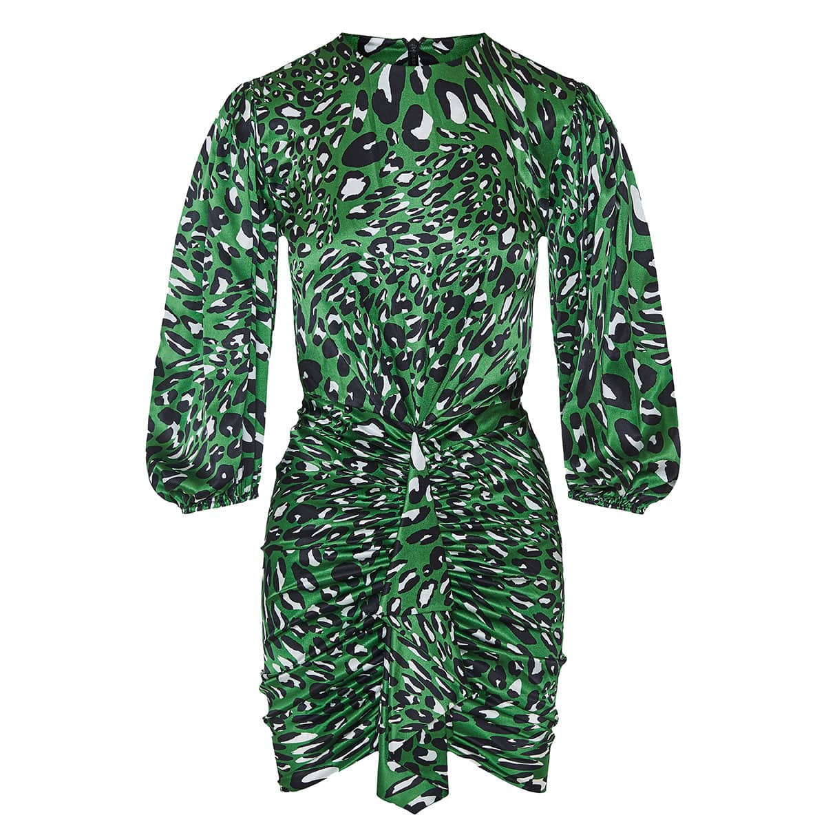 Leopard ruched mini dress