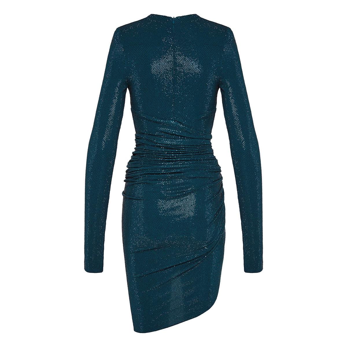 Crystal-embellished draped mini dress