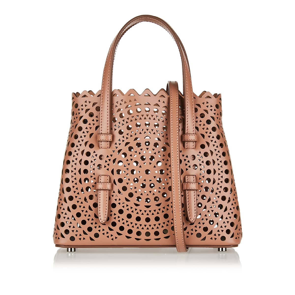 Micro laser-cut leather tote