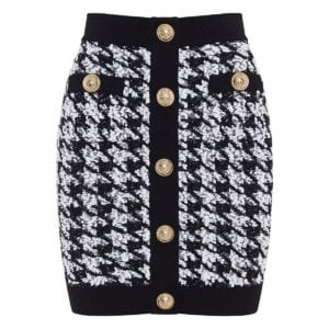 Button-embellished tweed mini skirt