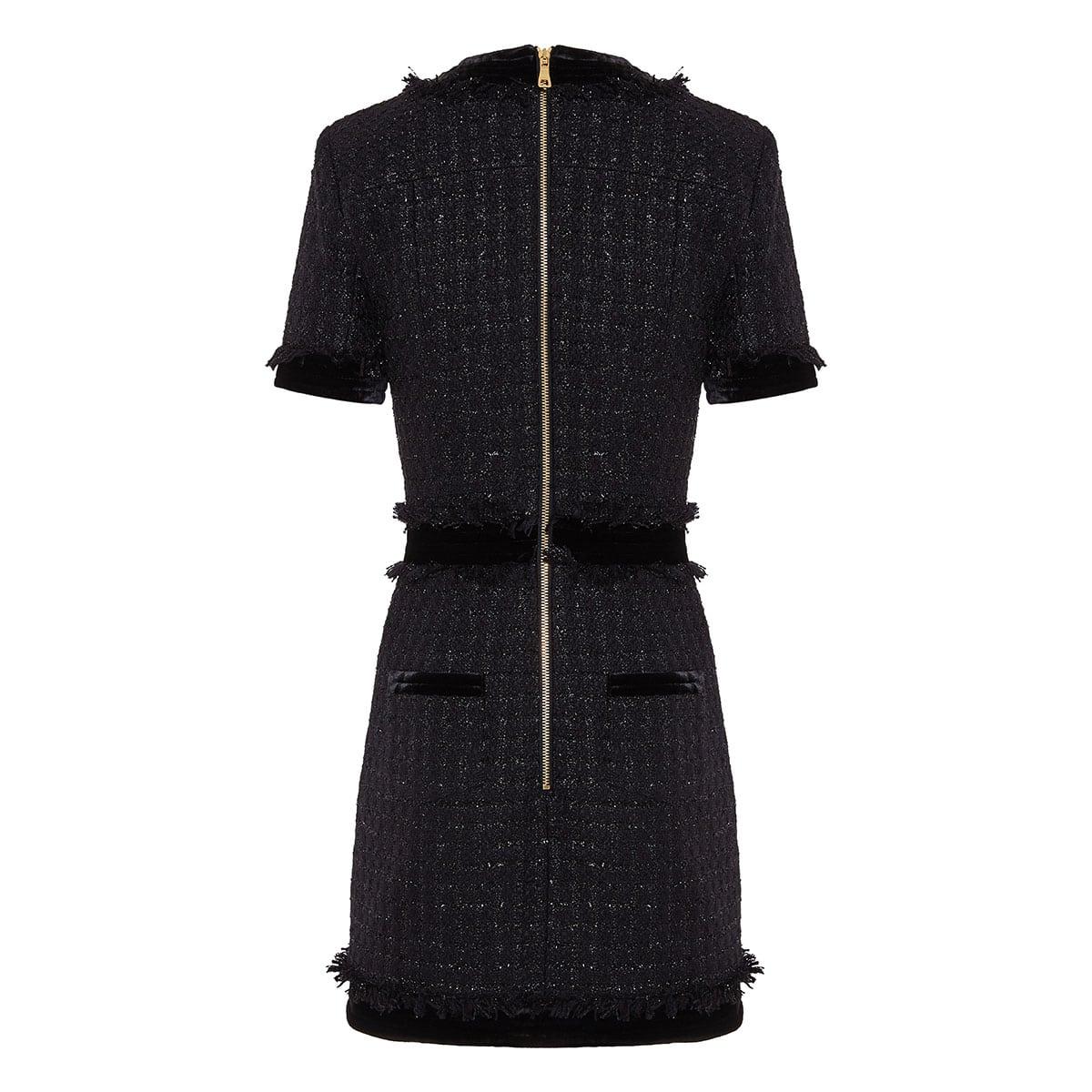 Velvet-trimmed embellished tweed mini dress