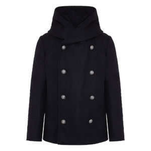 Hooded double-breasted wool peacoat