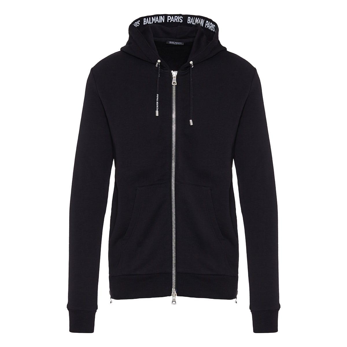 Zipper hoodie with logo details