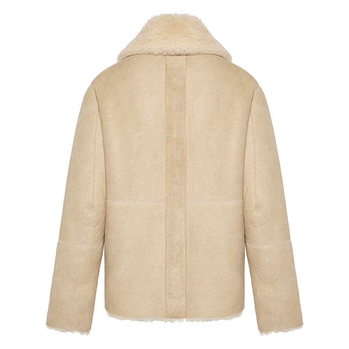 Reversible shearling and suede jacket