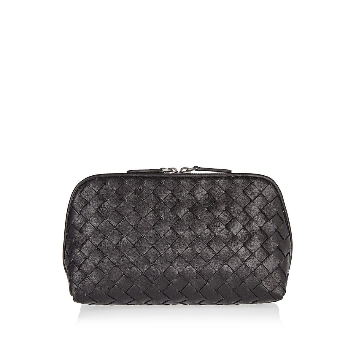 Intrecciato leather cosmetic case