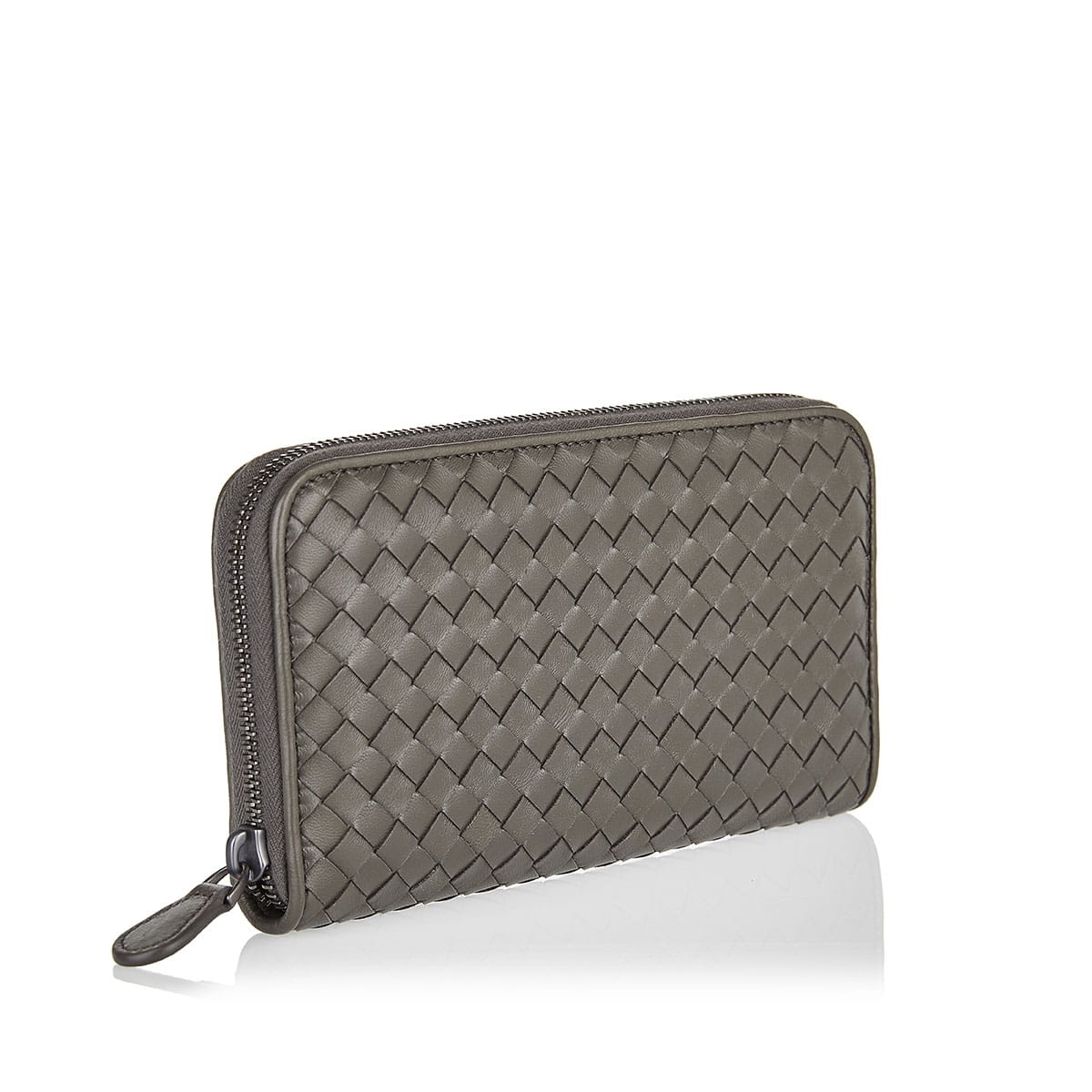 Intrecciato zip-around leather wallet