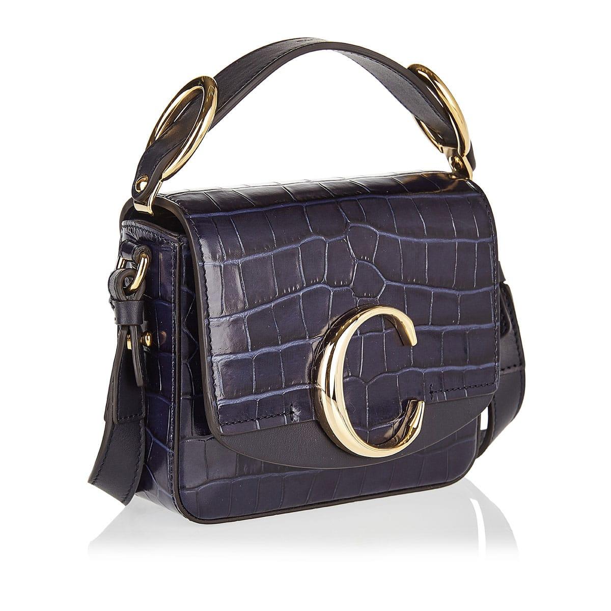 Mini Chloé C croc-effect leather bag