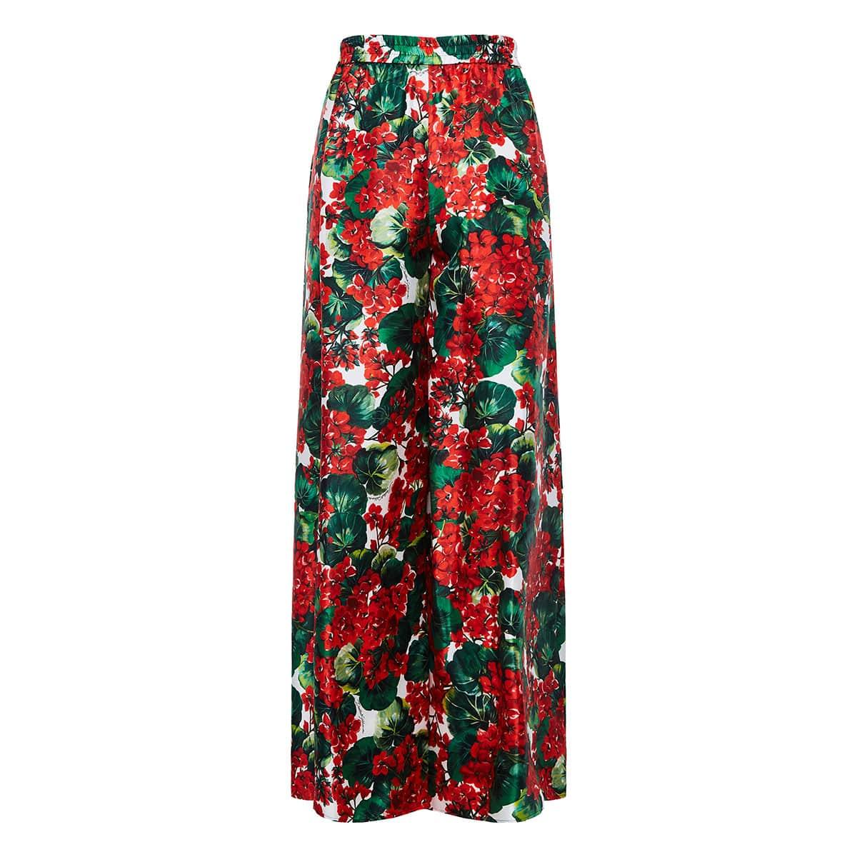 Floral wide-leg silk trousers