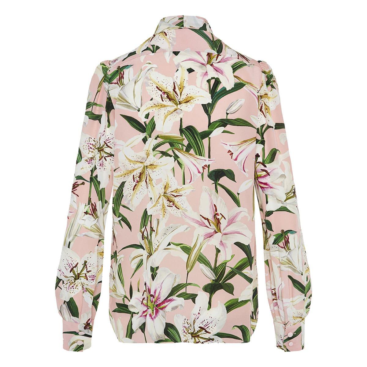 Bow-tie lily-print shirt