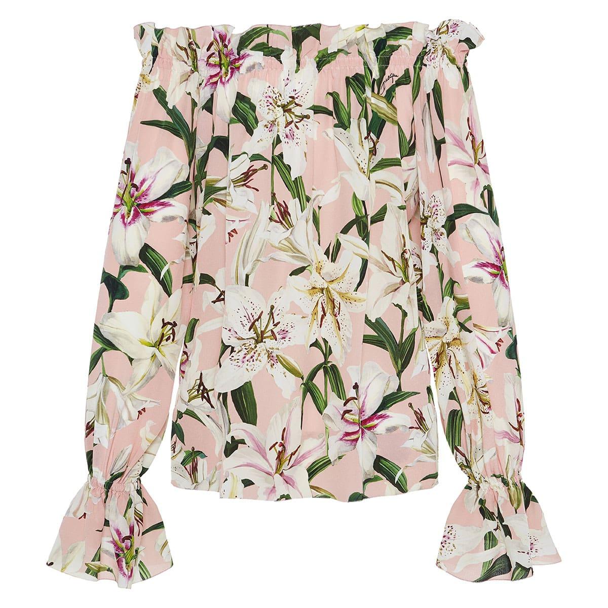 Off-the-shoulder floral silk blouse