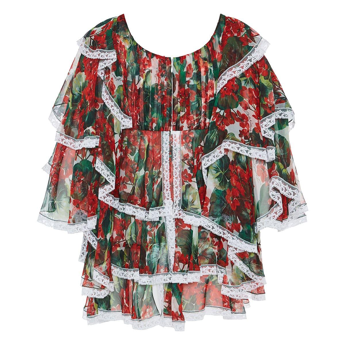 Portofino print ruffle-layered chiffon blouse