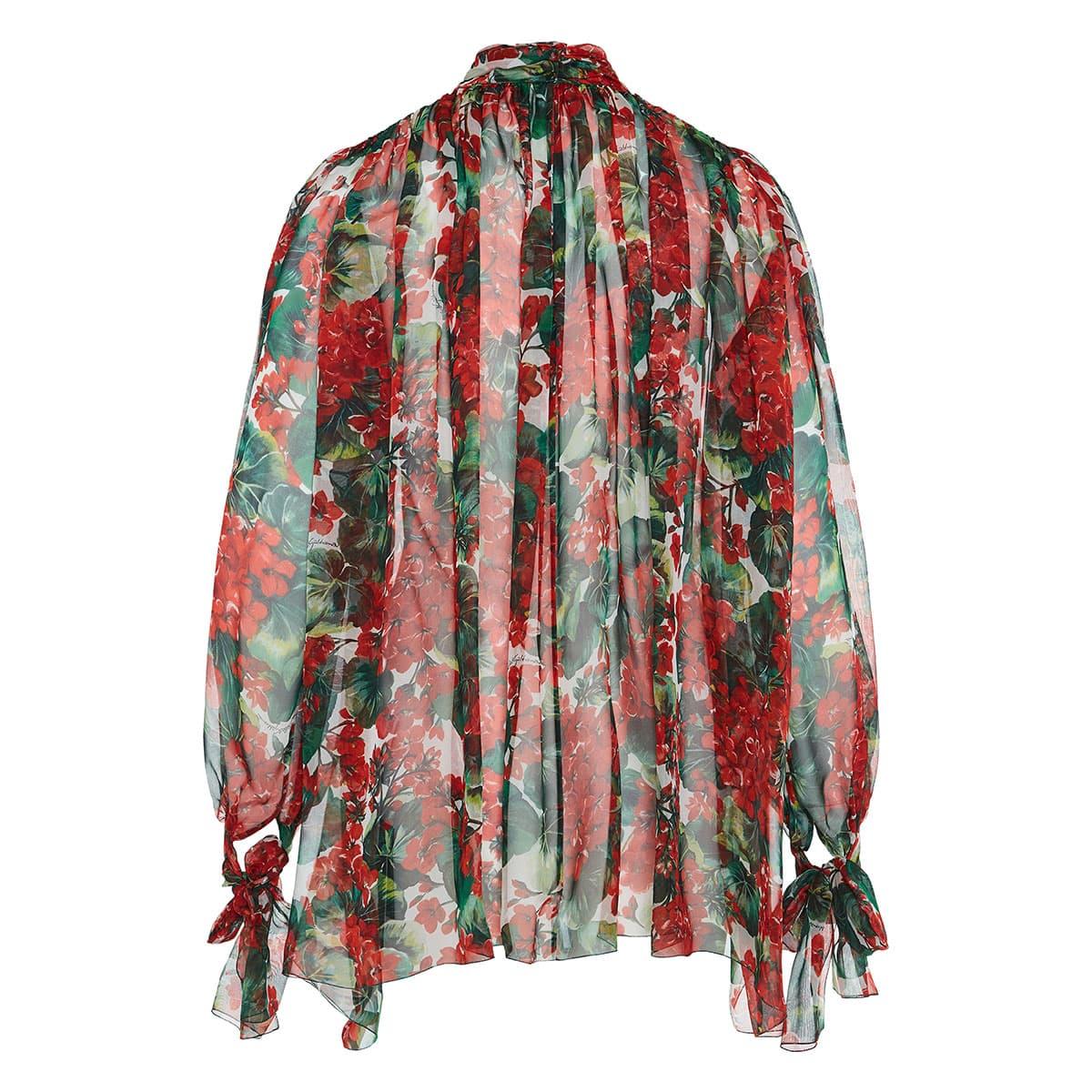 Portofino print bow-tie chiffon blouse
