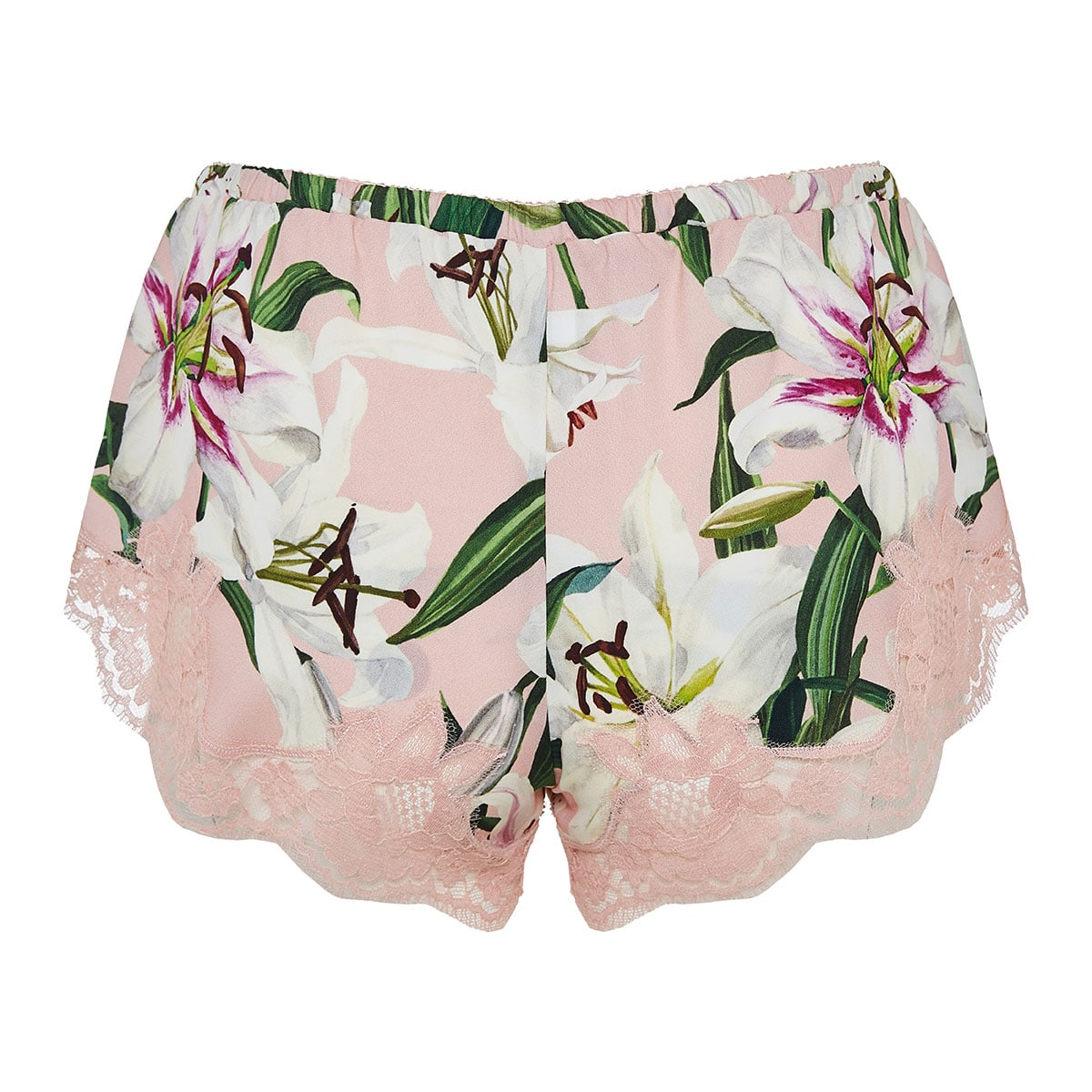 Lily-print lingerie shorts