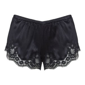 Lace-trimmed lingerie shorts