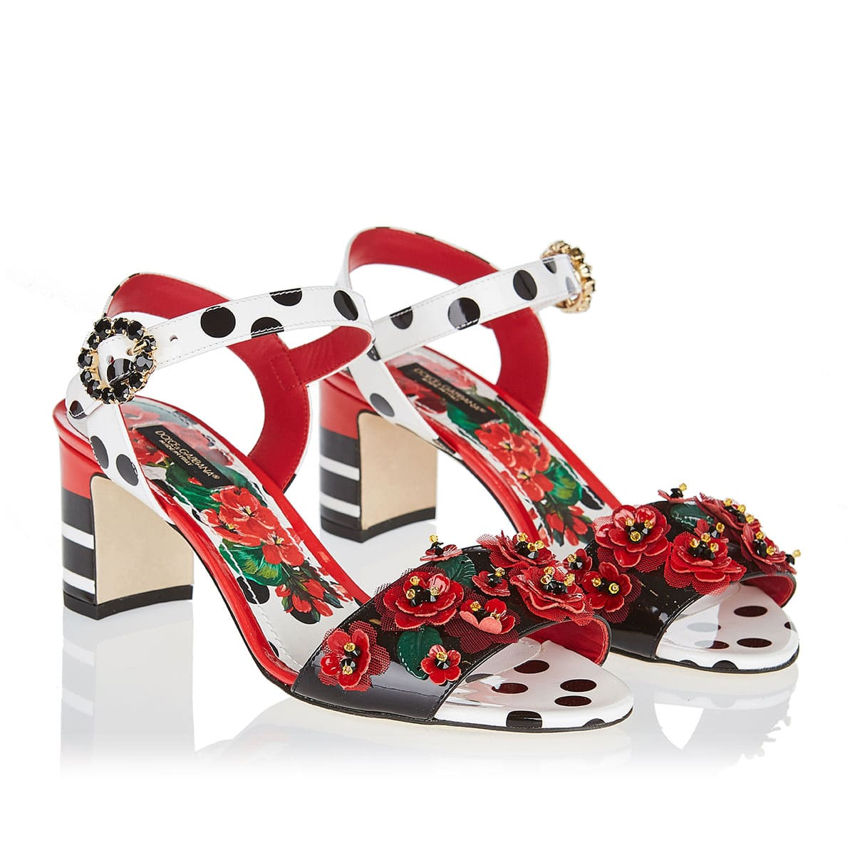 Portofino-print sandals with applique flowers