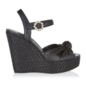 Knotted leather raffia wedges
