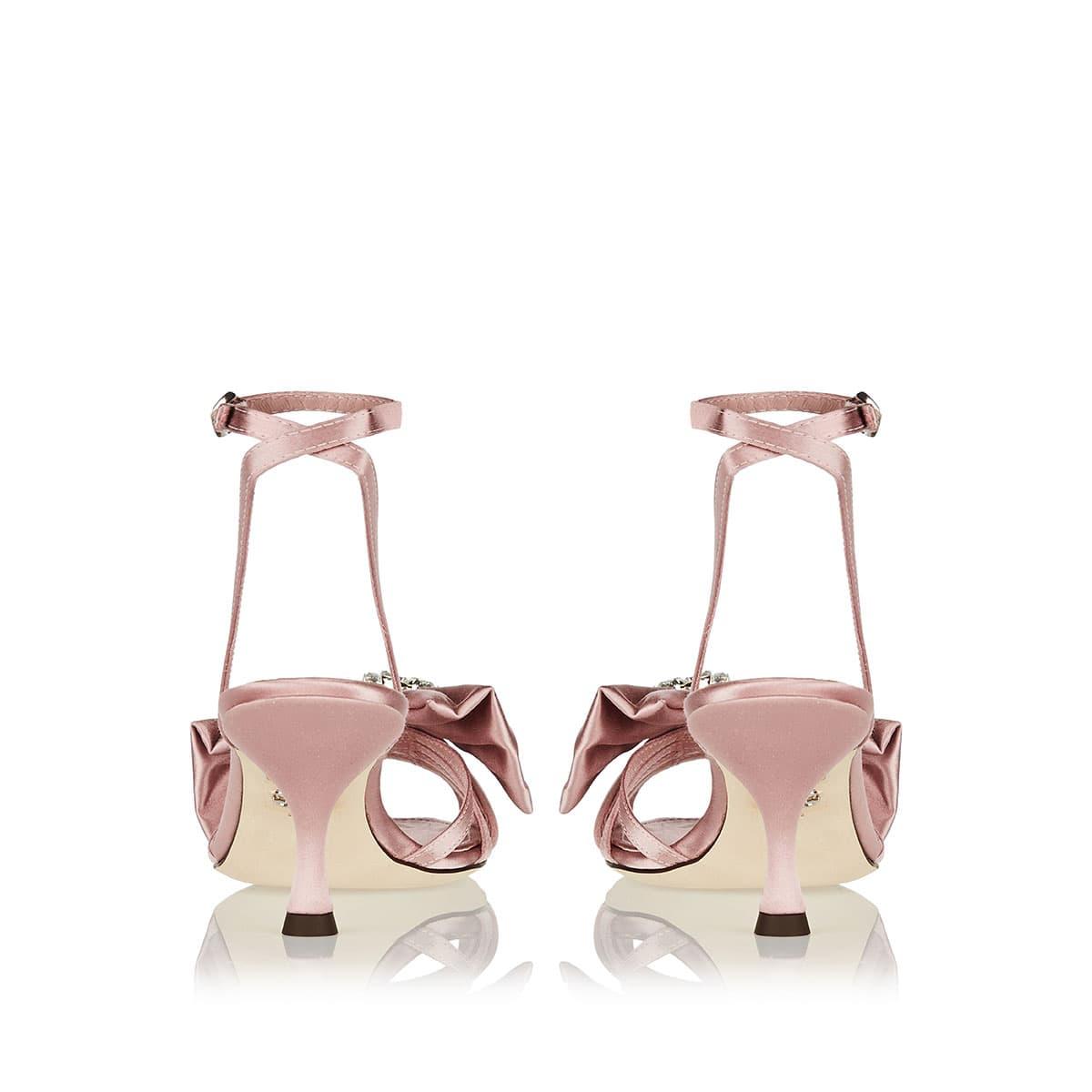 Jeweled satin sandals