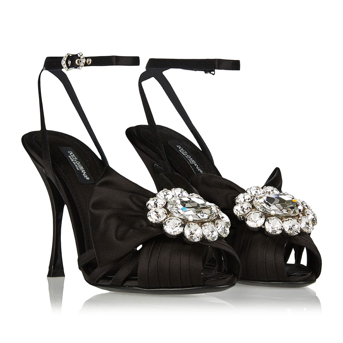 Jeweled satin sandals