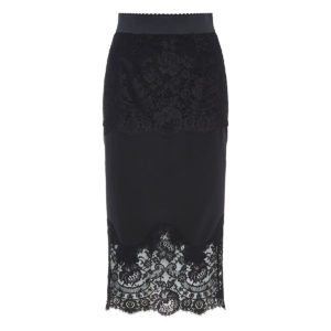 Lace-paneled pencil skirt