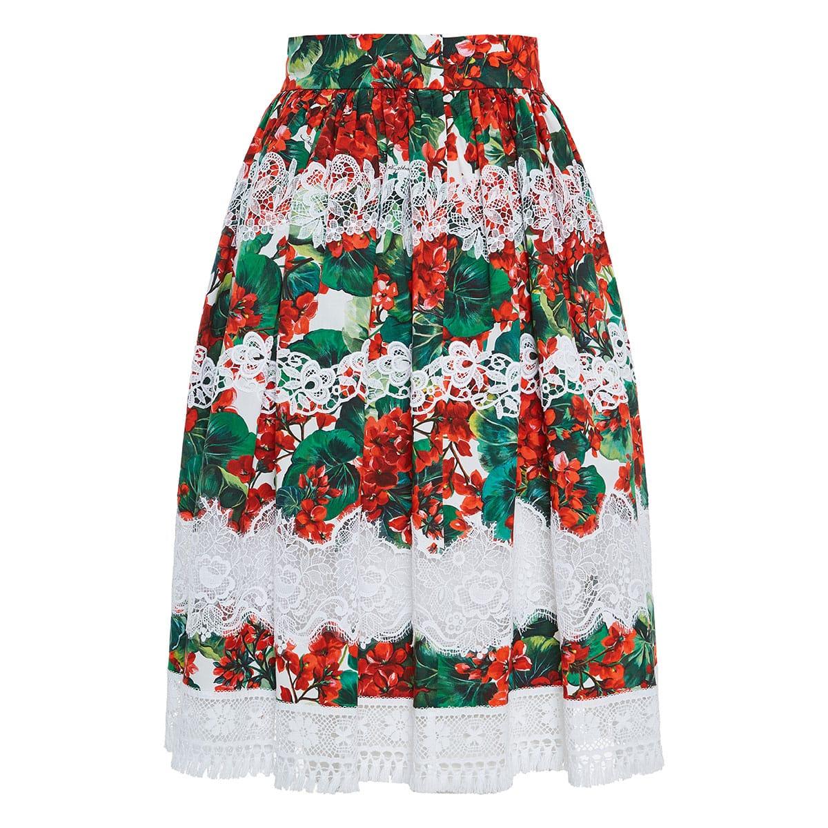Portofino-print lace paneled midi skirt